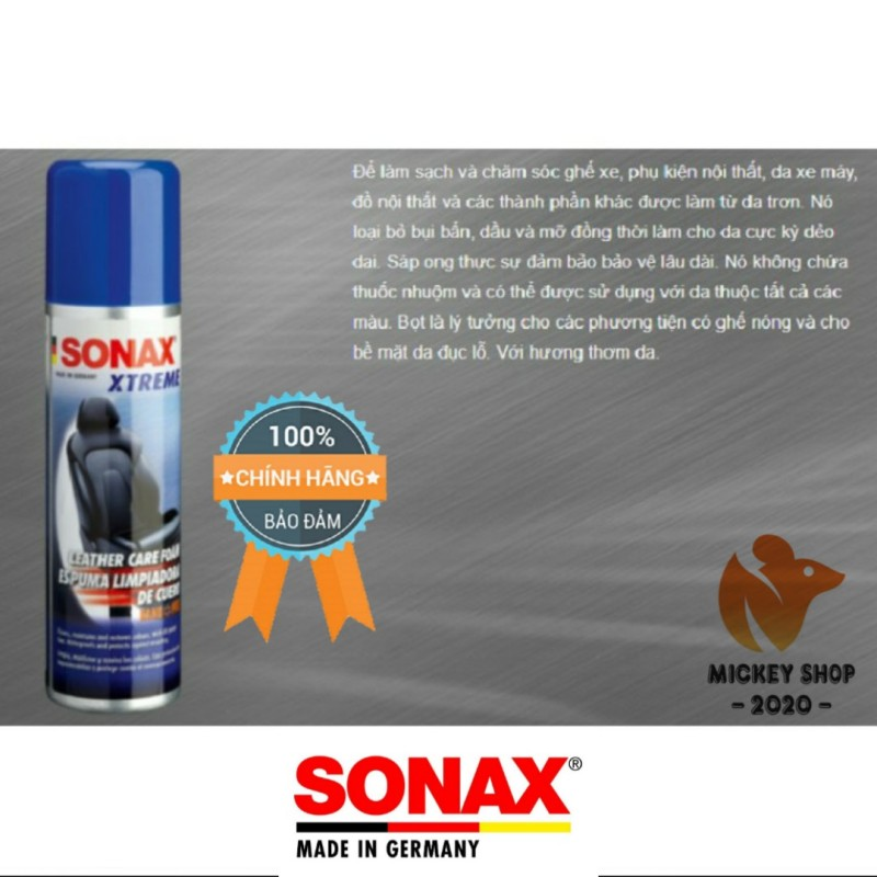 [ CAO CẤP ] Chai Xịt Bảo Dưỡng Da Dạng Bọt Công Nghệ Nano Sonax Xtreme Leather Care Foam Nano Pro 289100