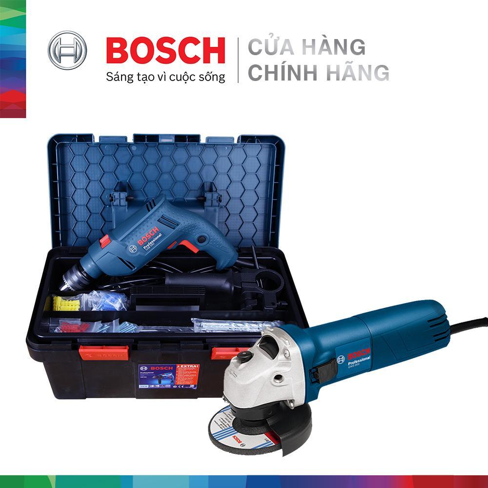 Combo Máy khoan động lực Bosch GSB 550 FREEDOM SET 90 chi tiết + Máy mài góc Bosch GWS 060