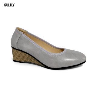 Giày Búp Bê Đế Xuồng Da Thật AD by Sulily màu xám mang êm chân