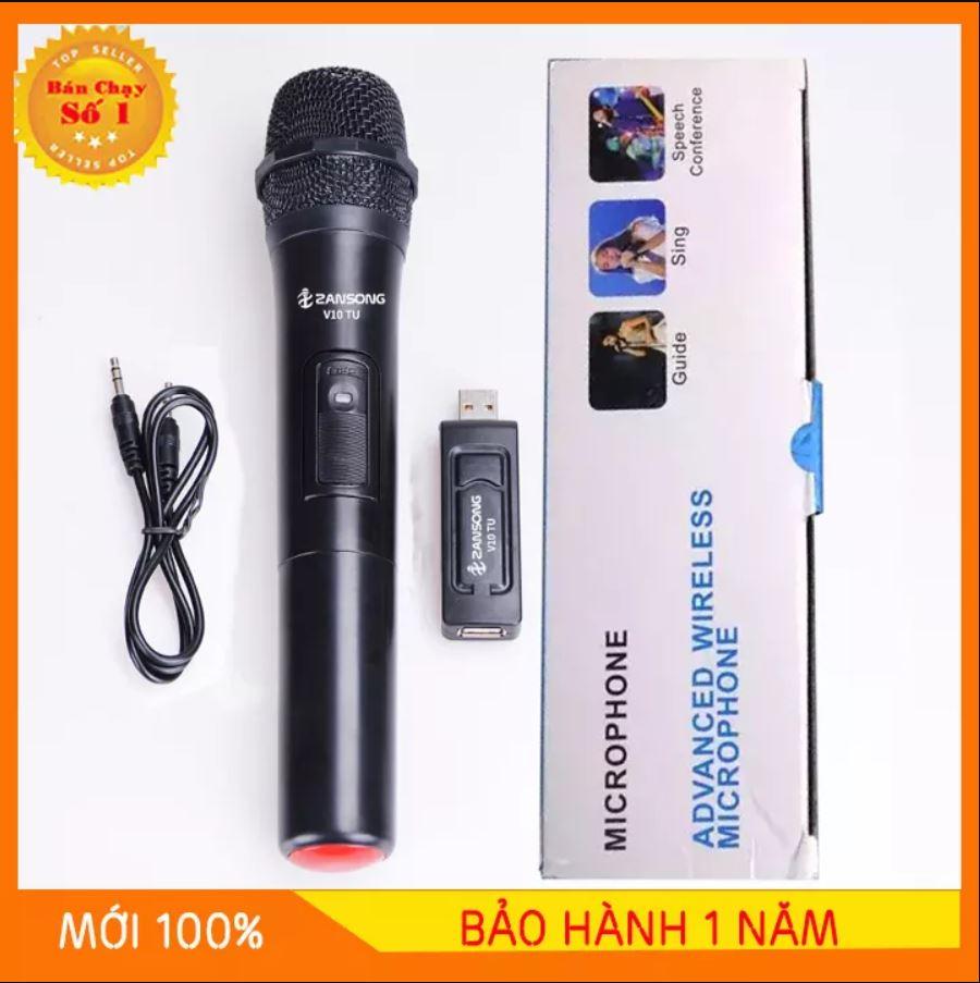 [GIAO NHANH- GIẢM THÊM 12%] Micro Karaoke không dây đa năng cao cấp UHF V10 - dành cho loa kéo, loa bluetooth, amply hát karaoke zack cắm 3.5 - 6.5mm