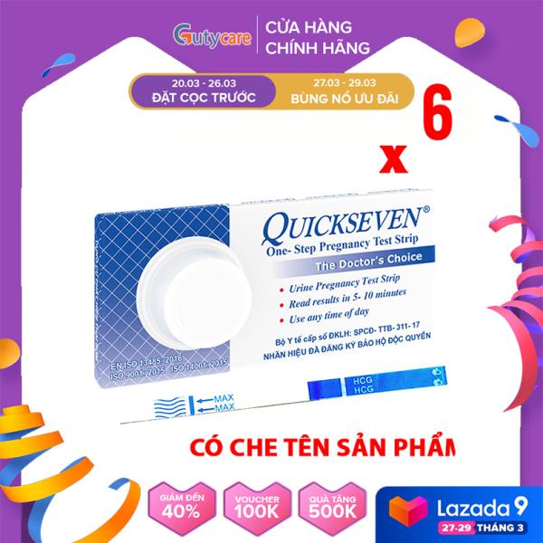 Que thử thai Quickseven phát hiện thai sớm - nhanh chóng - đơn giản - chính xác - Combo 6 que - Guty Care