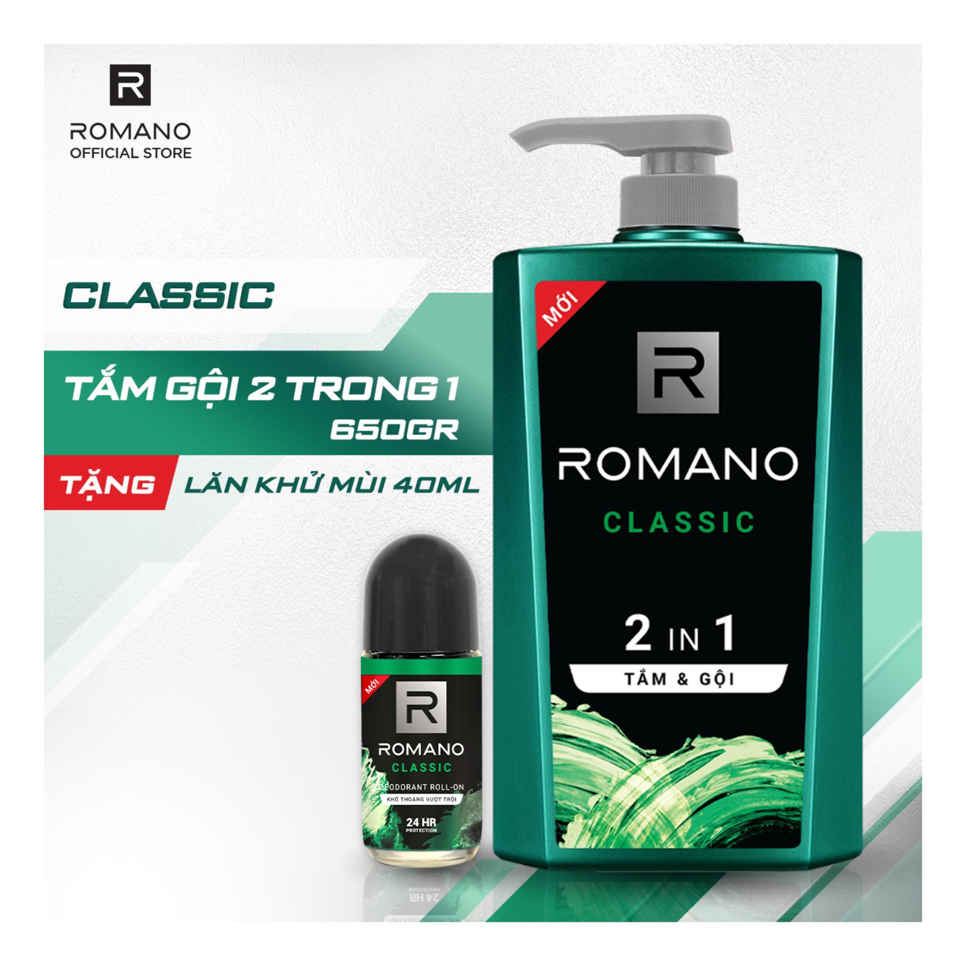 [Tặng Lăn khử mùi Romano Classic 40ml] Tắm gội 2 trong 1 Romano Classic 650g