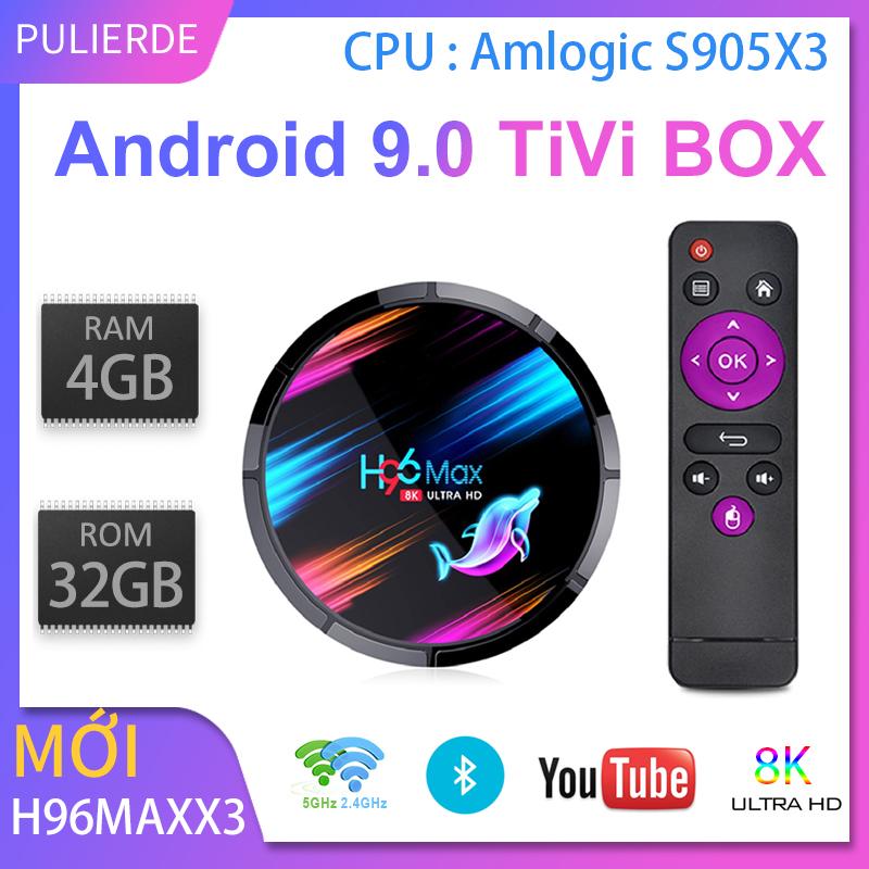 Offer Giảm Giá H96 MAX X3 4GB 64GB 8K Amlogic S905X3 HỘP TiVi Thông Minh Android 9.0 Dual Wifi 1080P 4K Youtube Đặt Hộp Hàng đầu PK X96AIR X3 A95X H96MAX