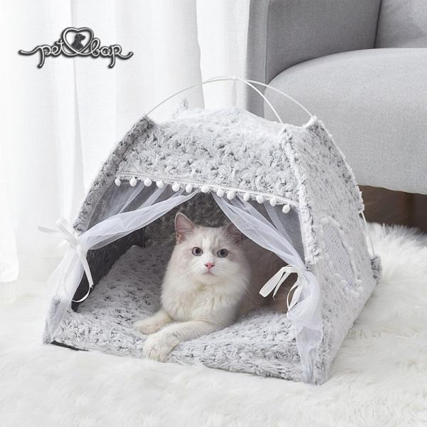 Lều công chúa cho thú cưng khung sắt chắc chắn có thể gấp gọn – Chuồng cho chó mèo bằng sợi fabric họa tiết hoa hồng sang chảnh