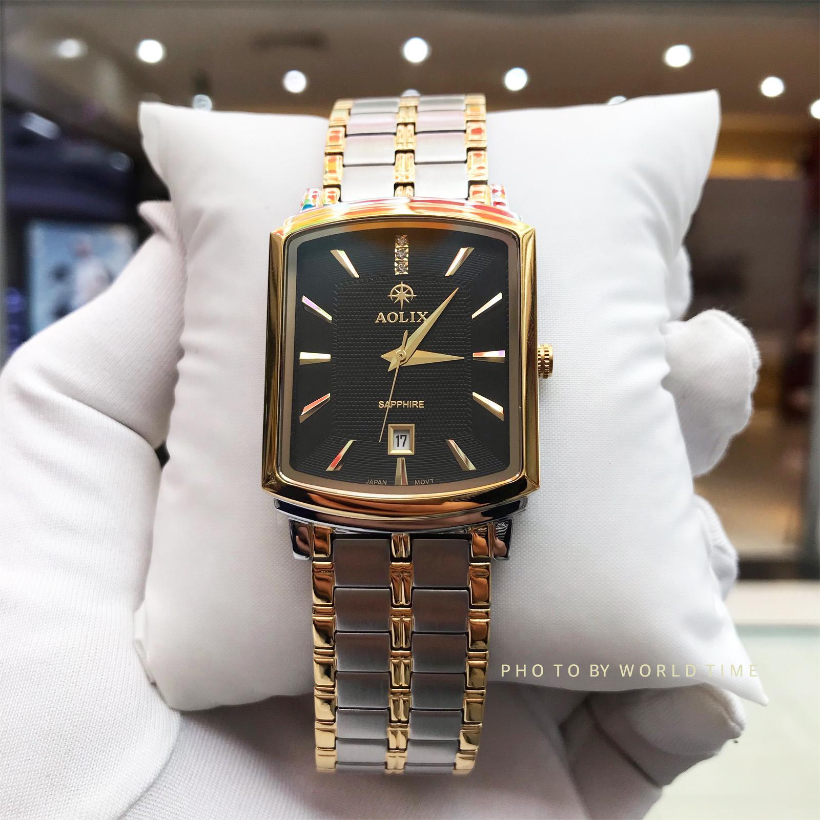 Đồng hồ nam  Aolix AL9099G Full Hộp ,Thẻ Bảo Hành Hãng, Kính Sapphire Chống Xước Chống Nước, Mặt Đen Demi bán chạy