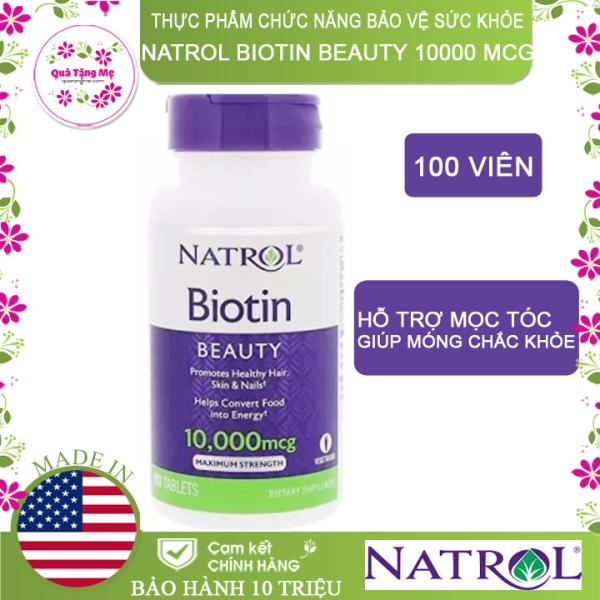 [HCM]Thực phẩm chức năng bảo vệ sức khỏe Natrol Biotin Beauty 10000 mcg - Hộp 100 viên