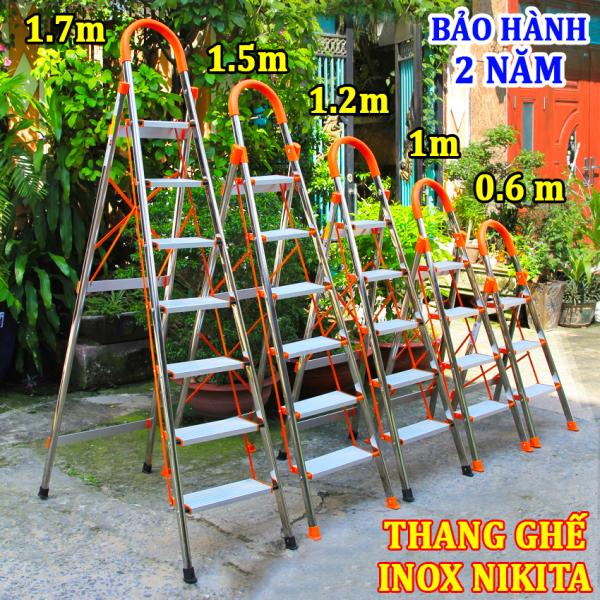 Thang ghế inox tay vịn gia đình 3,4,5,6,7 bậc Nikita in03,in04,in05,in06,in07 ( bảo hành 2 năm)