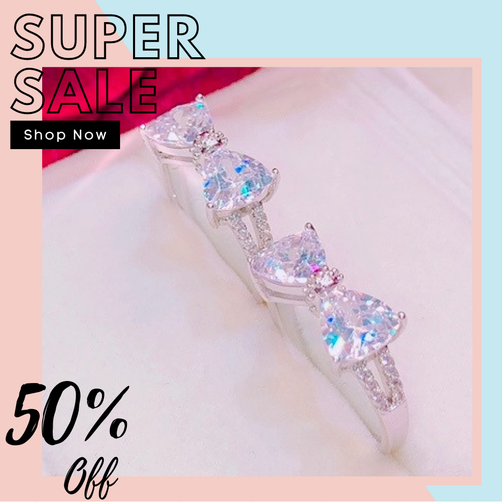 [HCM]Nhẫn bạch kim nữ nhẫn NƠ mạ bạc đính đá pha lê lấp lánh cao cấp Trang Sức Miga N045 - dùng đi tiệc cực kì sang chảnh