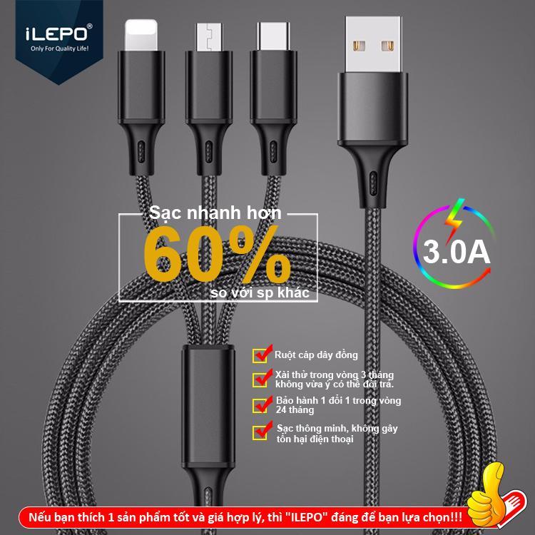 Giá Cáp sạc 3A đa năng 3 đầu Lightning, Micro, Type C cho nhiều dòng máy SamSung, iPhone, Xiaomi bảo hành 12 tháng ILEPO IL15