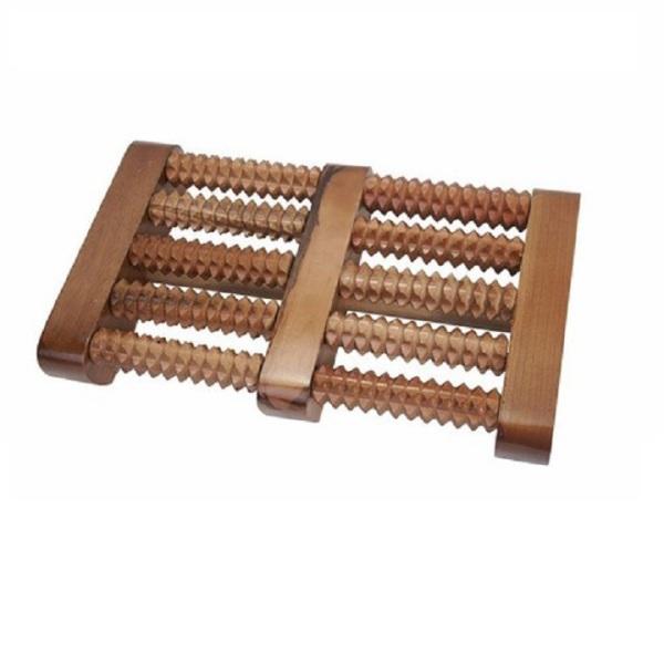 Bàn lăn massage chân 5 hàng bằng gỗ