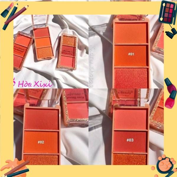 Phấn má hồng 3 ngăn Kiss Beauty Peach of Blush ( queen cosmetics) giá rẻ
