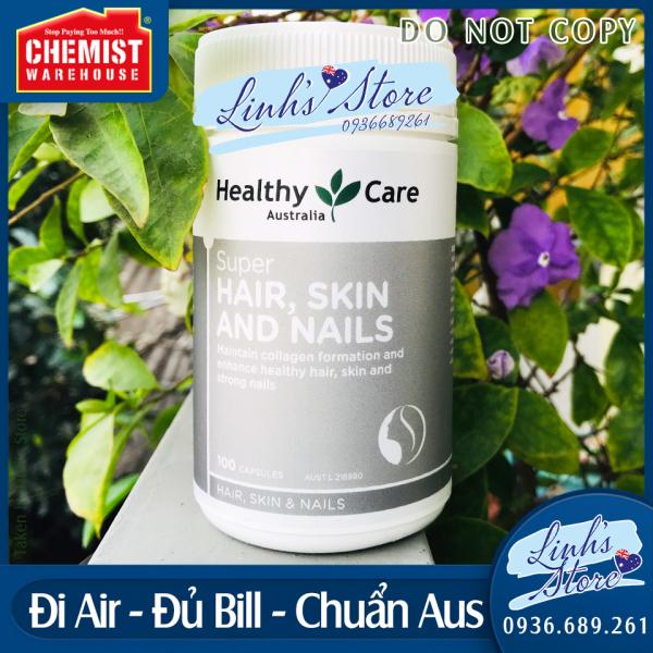 Viên uống đẹp da, tóc móng Healthy Care Super Hair Skin & Nails - 100 viên💙 Chemist Warehouse - Úc giá rẻ