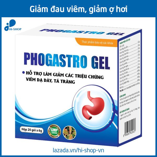 Gel giảm đau dạ dày, giảm trào ngược dạ dày, giảm viêm loét dạ dày Phogastro Gel - Hộp 20 gói x 6g