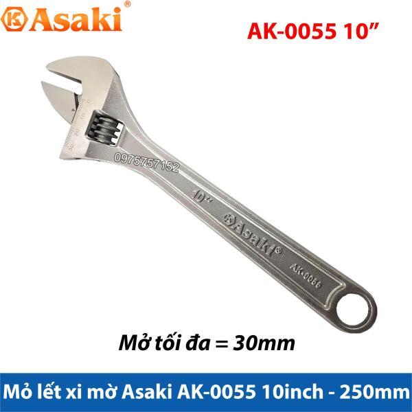 Mỏ lết xi mờ cao cấp Asaki AK-0055 10inch - 250mm (Mở tối đa 30mm)