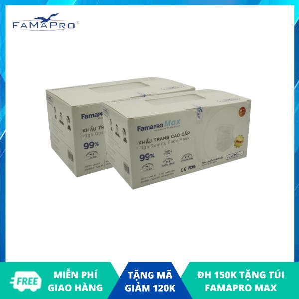Combo 2 hộp khẩu trang y tế cao cấp 4 lớp Famapro Max kháng khuẩn (40 cái / Hộp) nhập khẩu