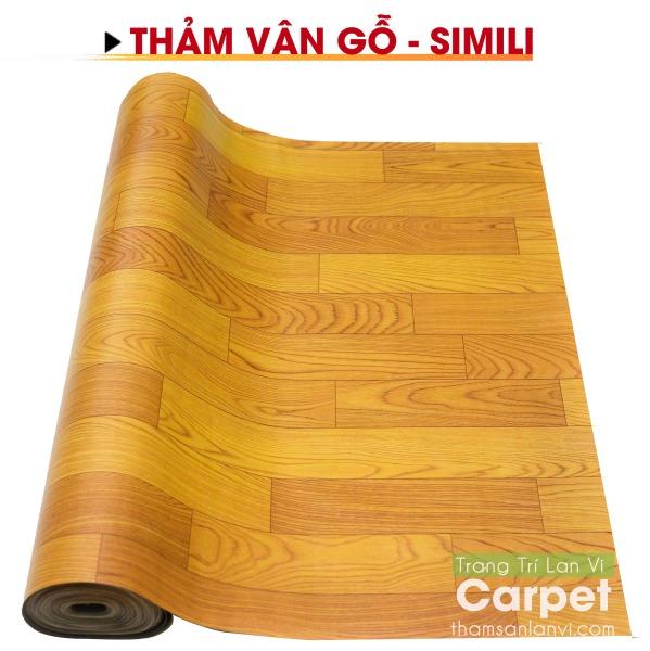 Thảm nhựa simili trải sàn nhà - vân gỗ vàng (yellow) - chống nước tuyệt đối - khổ 1m