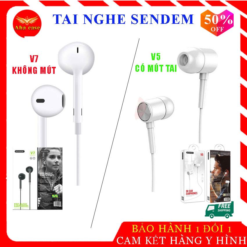[Siêu Hot] Tai nghe dây chính hãng Sendem V5 ( có mút tai) và Sendem V7 ( Không mút) chất lượng âm thanh tuyệt đỉnh, thiết kế sang trọng, tinh tế, hạn chế tiếng ồn, nghe gọi tốt,  tay nghe, tai ghe chất lượng, bảo hành 1 năm