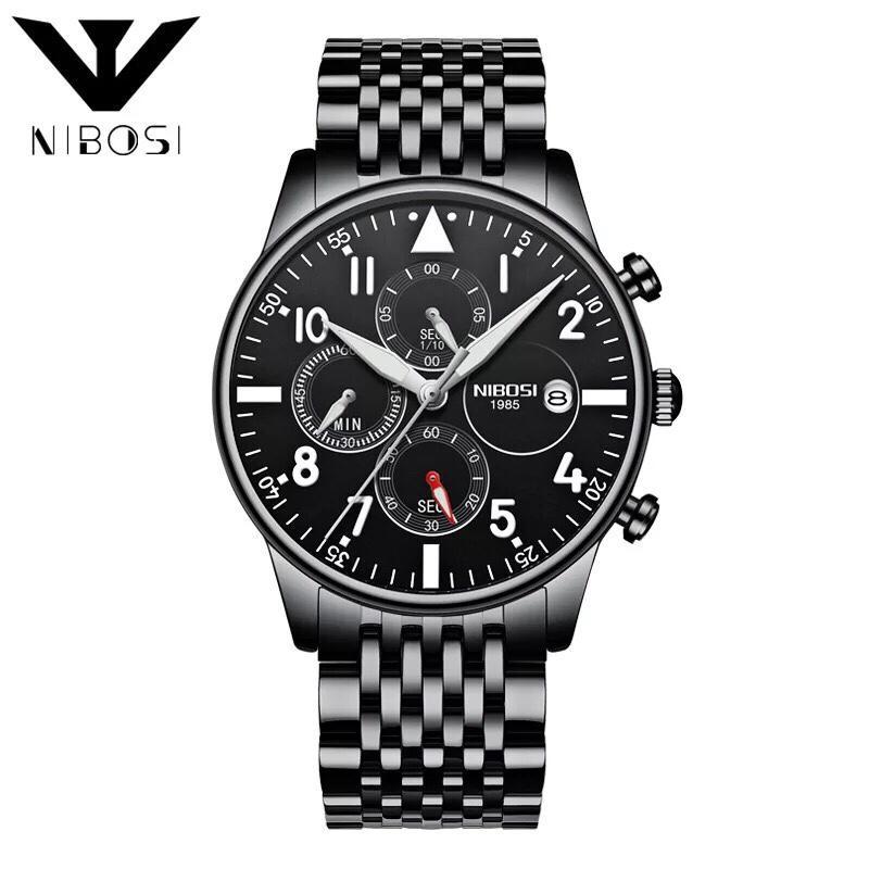 Đồng hồ nam NIBOSI dây thép đúc 6 kim 1 lịch - tặng kèm cắt dây & pin - N83