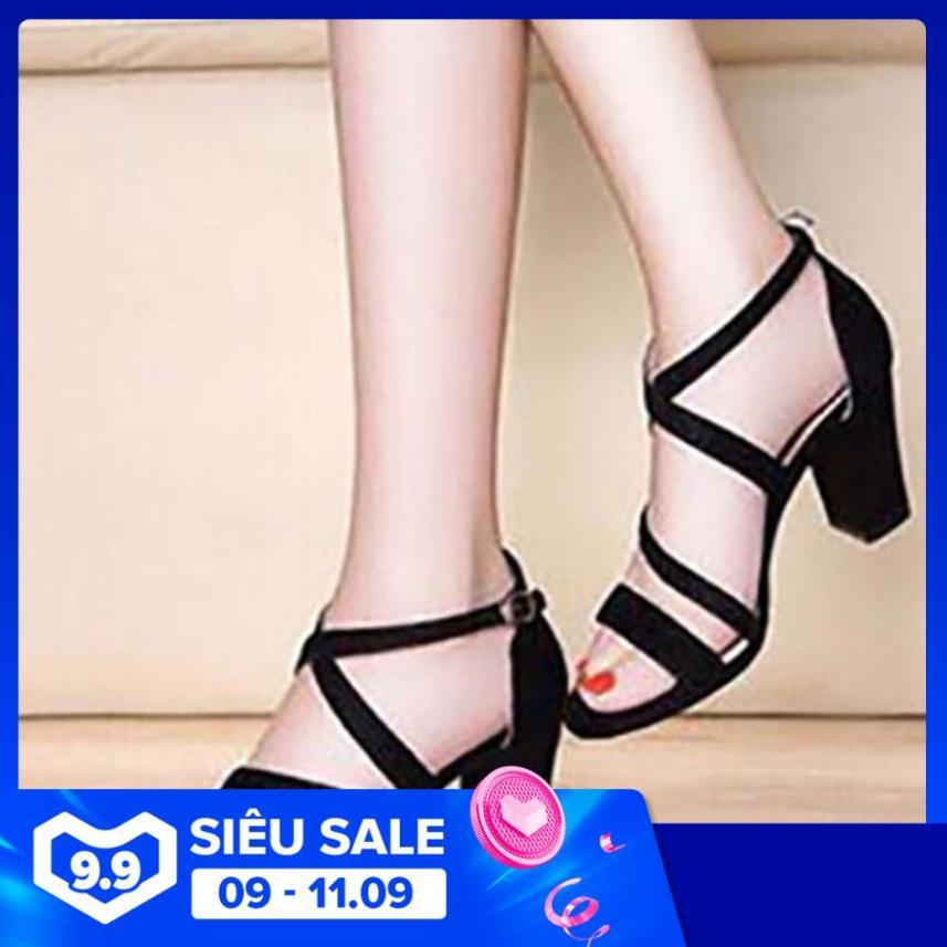 Giày cao gót 7cm 2 dây chéo giá rẻ