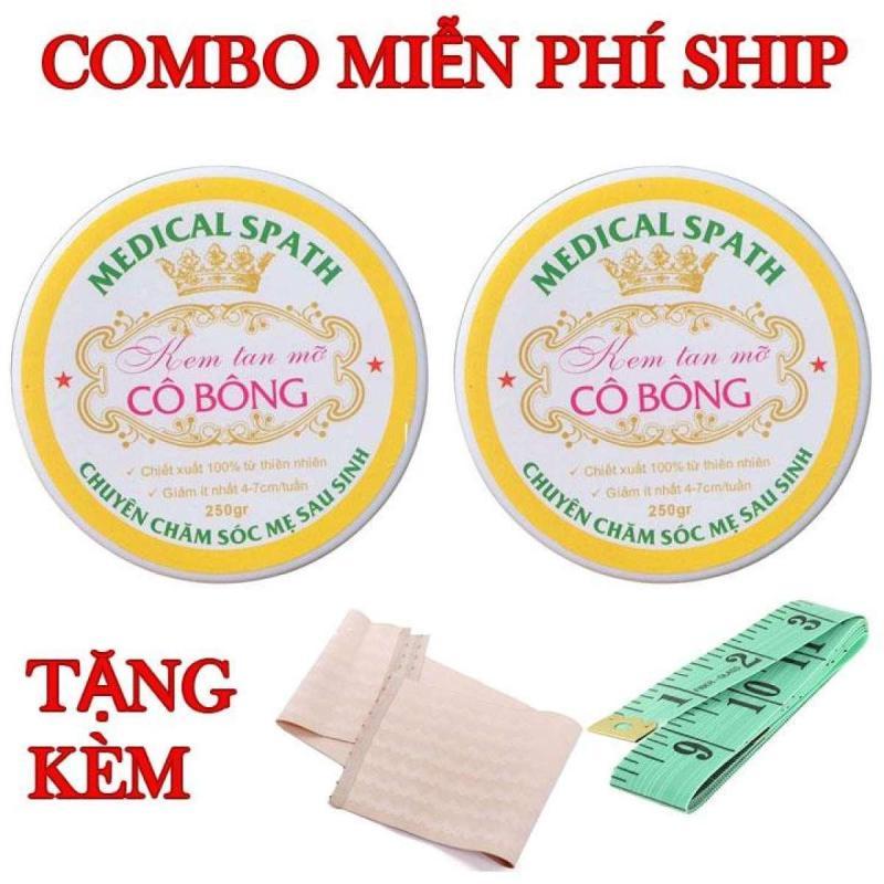 Bộ 2 hộp Kem tan mỡ Cô Bông (250g) giúp giảm mỡ bụng tặng thước dây và 1 NỊCH BỤNG nhập khẩu
