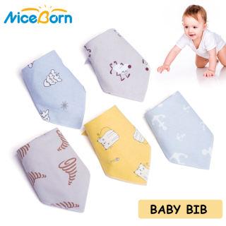 Bộ 5 chiếc yếm NiceBorn chất liệu cotton 100% mềm mại thiết kế hình tam giác in họa tiết hoạt hình dễ thương dùng thấm nước bọt em bé trai và bé gái - INTL