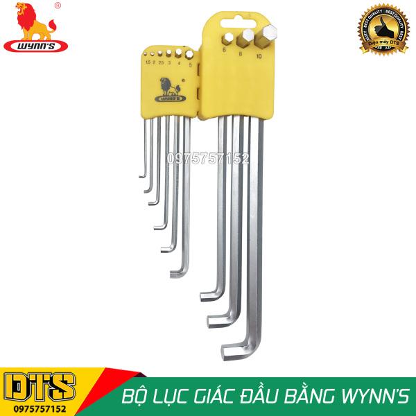Bộ lục giác đầu bằng 9 chi tiết cỡ dài WYNN'S W0583, bộ khóa lục giác thép cứng cao cấp CR-V chất lượng cao