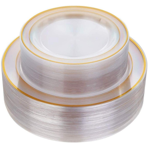 Mua Gold Plastic Plates 60 Pieces, Disposable Wedding Plates, Plastic Party Plates Includes: 30 Dinner Plates 10.25 Inch and 30 Salad/Dessert Plates 7.5 Inch (Gold)