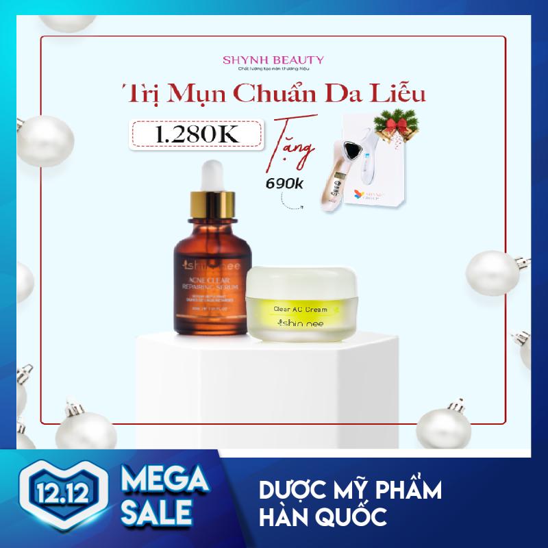 Combo Trị Mụn Chuẩn Da Liễu gồm Serum Acne Repairing + Kem Trị Mụn ShinNee Clear Acne Cream (Tặng Máy Điện Di Nâng Cơ Xóa Nhăn RF 690K hoặc Voucher Giảm 20%)