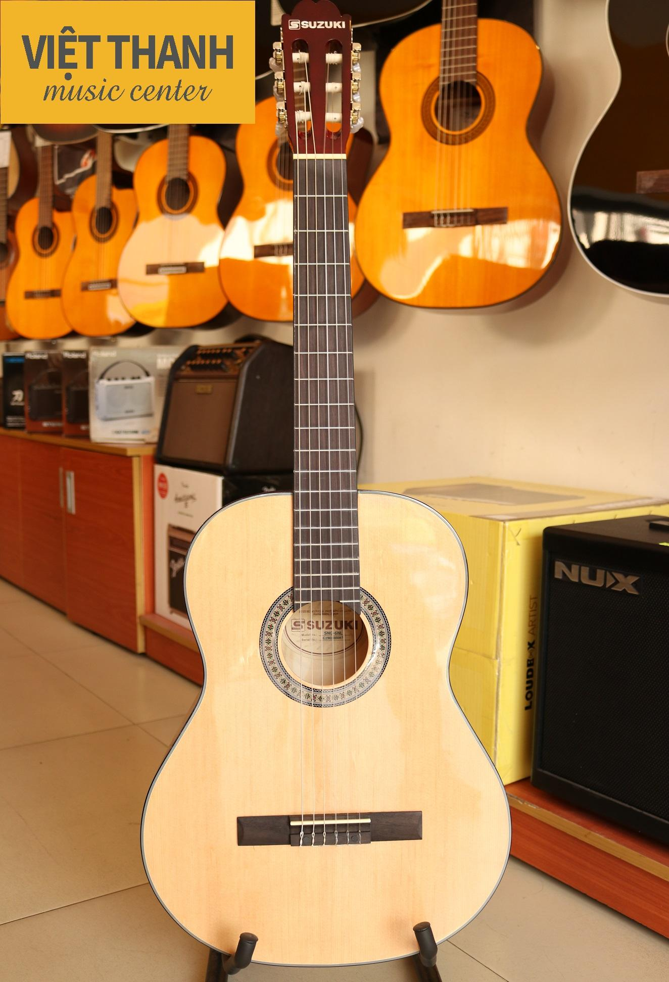 Đàn Guitar Cổ Điển Classic Suzuki SNG 6 NL, dây nylon, màu gỗ tự nhiên, giá rẻ.