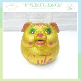 Lợn đất tiết kiệm TABILINE lật đật kim tuyến vàng chất liệu thạch cao không ẩm mốc tiền an toàn sử dụng LD16 thumbnail