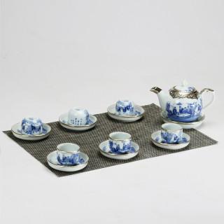 Bộ ấm chén men lam bọc đồng chóp lửa chính hãng gốm sứ Bát Tràng - bình trà, bộ bình uống trà cao cấp thumbnail