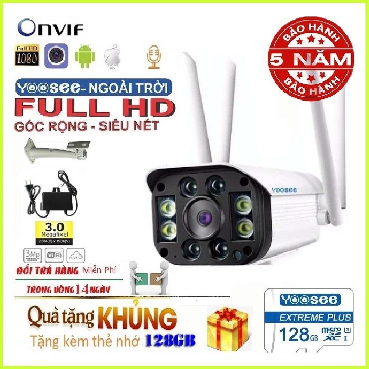 (Hình ảnh rõ nét -KÈM THẺ NHỚ chuẩn YOOSEE 128 GB)Camera wifi ngoài trời Yoosee 4 râu-BH 5 năm,1 đổi 1 trong 7 ngày