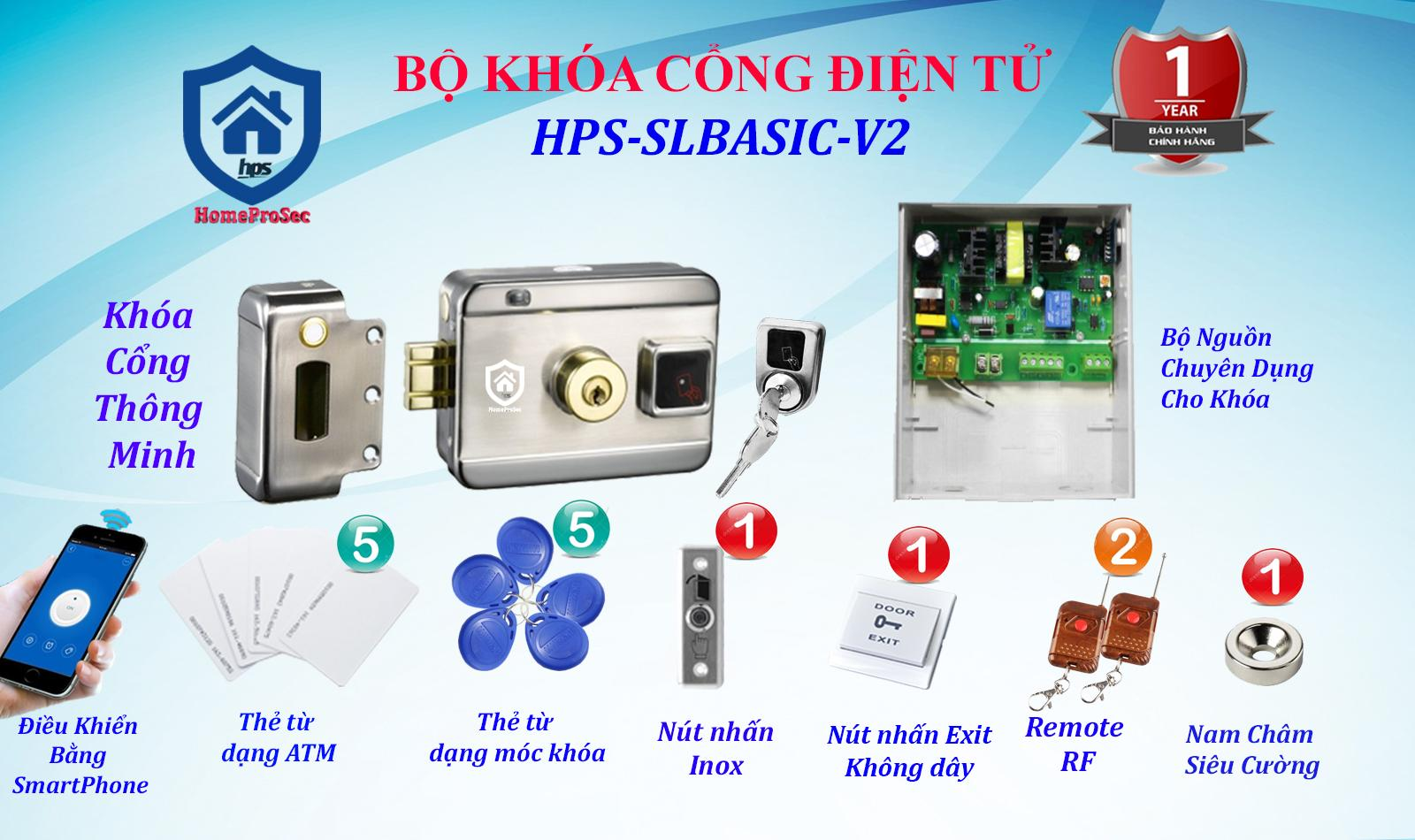 Khóa cổng điện tử thông minh HPS - SLBASIC - V2