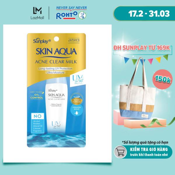 Sữa chống nắng dưỡng da ngừa mụn Sunplay Skin Aqua Acne Clear SPF 50+ PA++++ 25g nhập khẩu