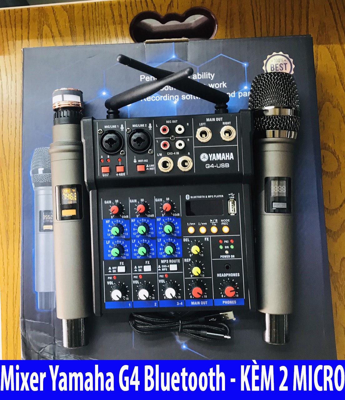 [ Xả Kho  ] Combo Trọn Bộ Mixer Yamaha G4 Bluetooth - Tặng Kèm 2 Micro Không Dây ,Bàn Mixer G4 Live Stream   Karaoke Xe Hơi Hỗ Trợ Màn Hình LED Có Bluetooth Dành Cho Loa Kéo - Âmly Dàn Hát Karaoke Gia Đình Âm . Bảo Hành 12 Tháng