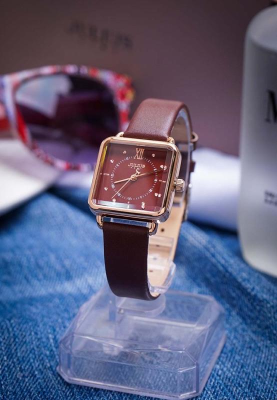 Nơi bán Đồng hồ nữ Julius Hàn Quốc JA-1123 dây da mặt chữ nhật