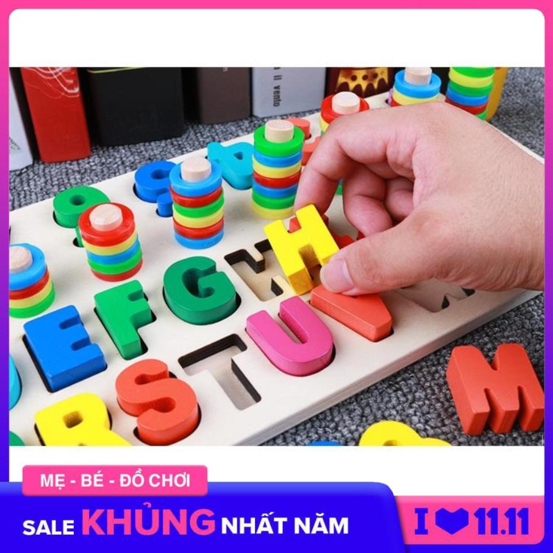 Đồ chơi bảng gỗ hình khối giúp bé học chữ...