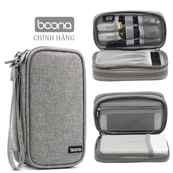 Bảng giá Túi 2 ngăn đựng điện thoại sạc dự phòng Baona / Boona dáng dài kiêm hộp đựng phụ kiện điện tử ổ cứng di động Phong Vũ