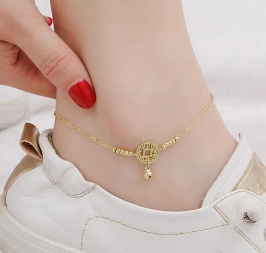 Lắc chân titan đồng tiền (vàng tươi) - Cam kết không đen