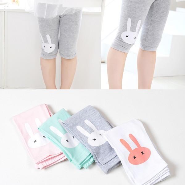 Giá bán (Hàng Đẹp) Quần legging lửng cotton bé gái 2-9 tuổi quần ngố thun in hình thỏ chất nhẹ mát