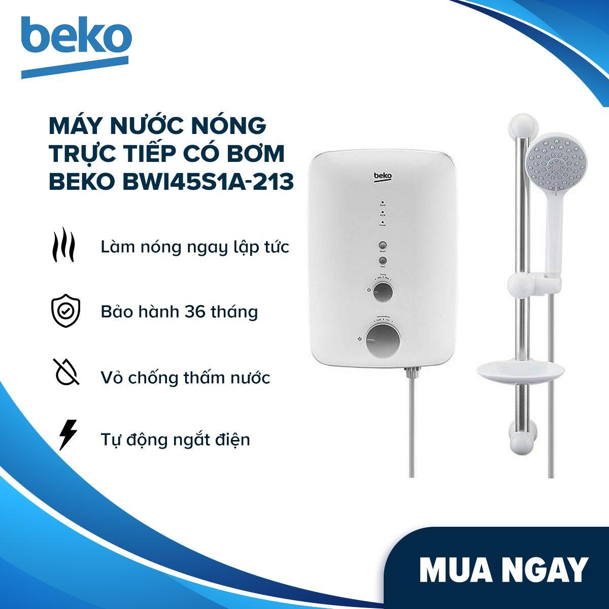 Máy Nước Nóng Trực Tiếp Có Bơm Beko BWI45S1A-213 (4500W) - Hàng Chính Hãng