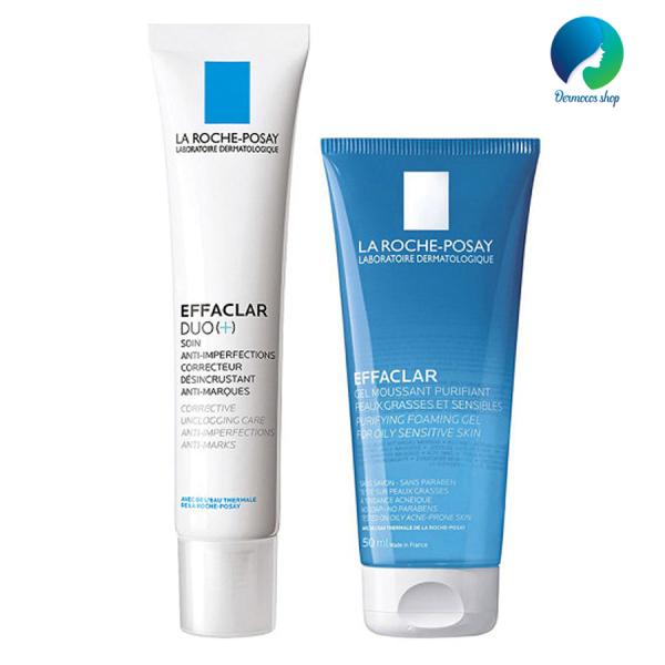 Combo kem dưỡng da giảm mụn viêm và thâm mụn La Roche Posay Effaclar Duo(+) 40ml và Gel rửa mặt dành cho da dầu mụn Effaclar Gel 50ml - DMCMP022