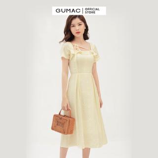 Váy đầm nữ đẹp cách điệu cổ vuông quyến rũ nhún bèo thời trang GUMAC mẫu mới DB3100 trẻ trung phù hợp đi làm đi chơi dự tiêc chất liệu vải xô cao cấp thumbnail