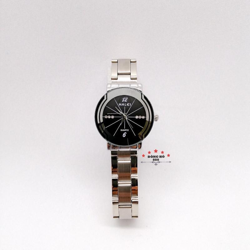 Đồng hồ nữ HALEI dây kim loại thời thượng ( HL457 dây trắng mặt đen ) - Kính Chống Xước, Chống Nước Tuyệt Đối, Mạ PVD Cao Cấp Chống Gỉ Chống Phai Màu Thời Trang Hottrend 2020