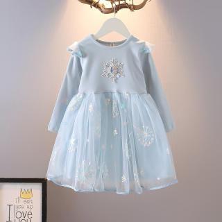 Váy Bé Gái Mới Váy Công Chúa Aisha Đông Lạnh ĐẦM LƯỚI MÙA THU Đầm Bông Tuyết Dài Tay Cotton 2-7 Năm