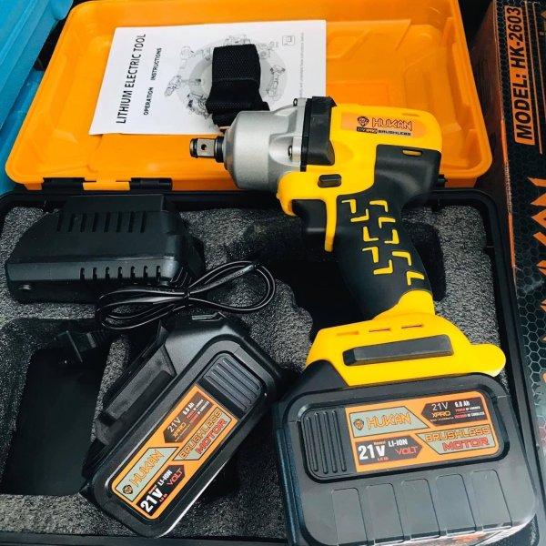 Máy siết bulong dùng pin không chổi than 21V pin to 15cel Hukan Hàng chuẩn nội địa tặng kèm phụ kiện