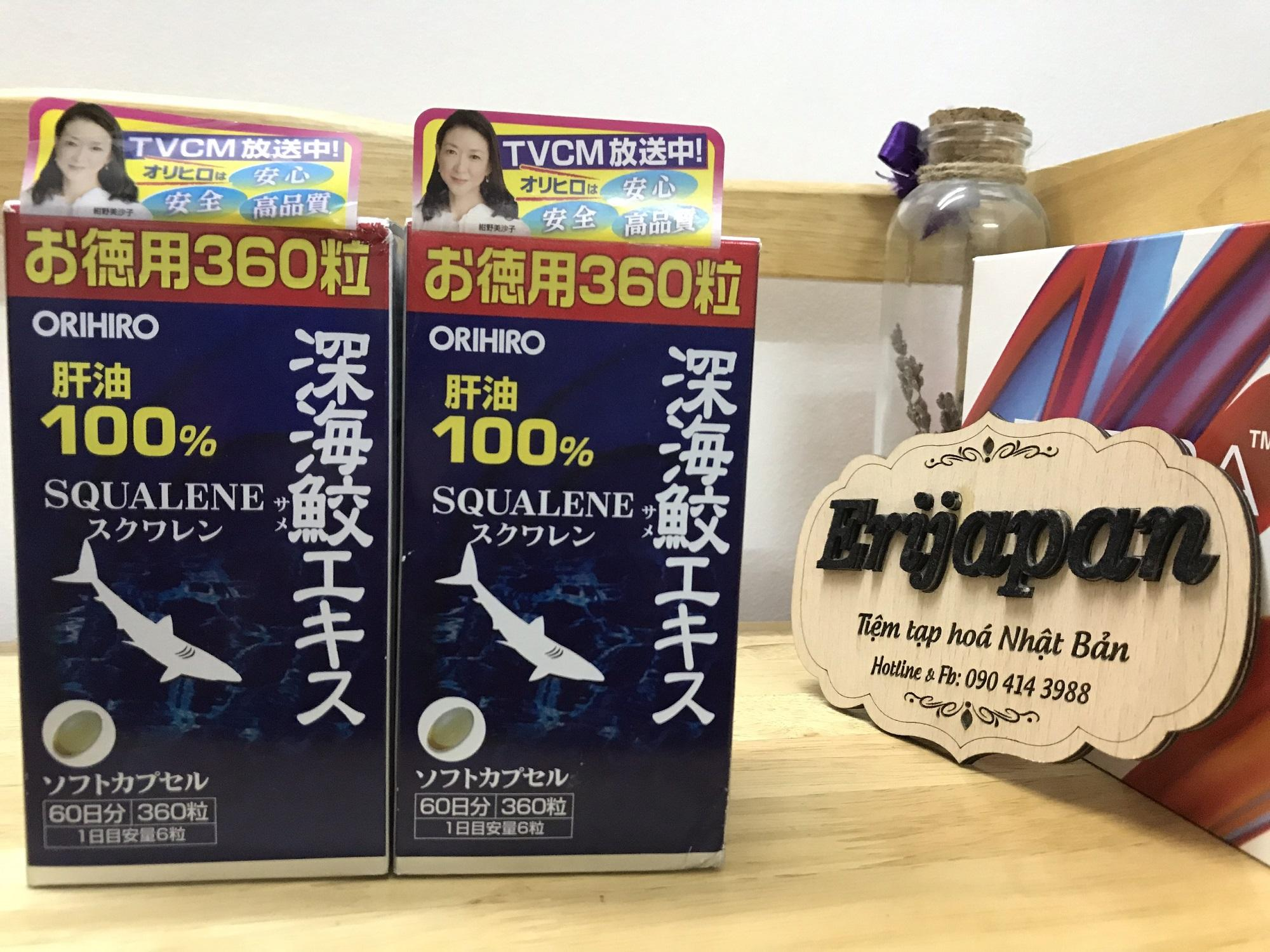 360 viên [DATE 2021] Dầu gan cá mập Orihiro - Dầu gan cá mập 100% Squalene Orihiro Nhật Bản