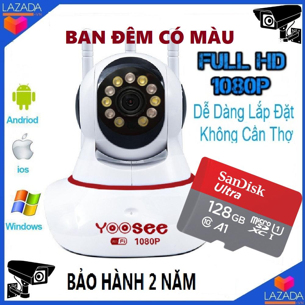 Camera wifi yoosee-Kèm thẻ nhớ 128GB-Camera wifi xoay 360 độ,có màu ban đêm,cảnh báo chuyển động,lưu trữ video