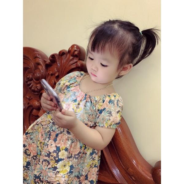 Giá bán Váy bé gái hoa lá tay bồng đan chéo lưng cực xinh cho bé từ 1-5 tuổi - VBG-TBNL