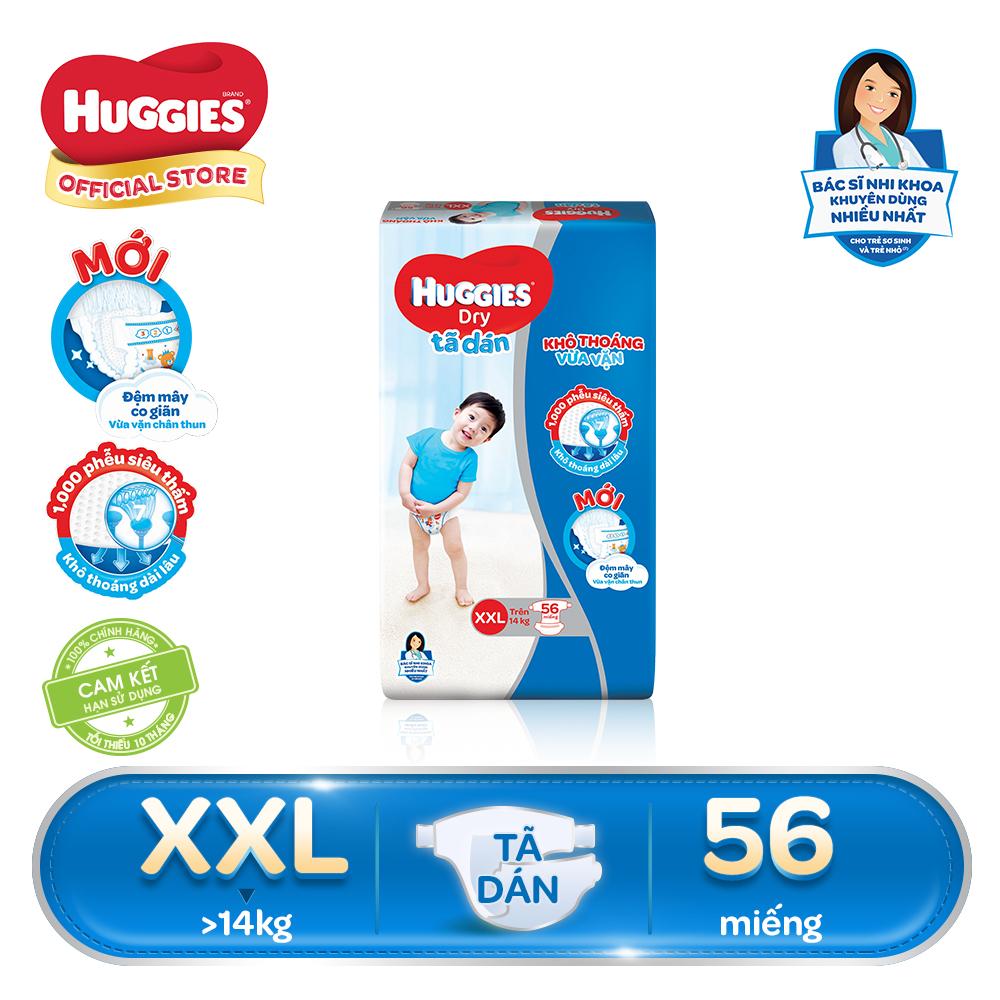 Tã/bỉm dán Huggies Dry Super Jumbo XXL56 - Gói 56 miếng (Cho bé trên 14kg)